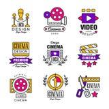 Cinema logo design set, video symbols in retro retro style vector Illustrations. On a white background Royalty Free Stock Photos