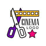 Cinema logo template creative design. Cinematography emblem concept with scissors cutting yellow filmstrip and text. Colorful cinema or movie logo template Stock Photo