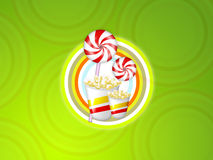 Cinema lolly candy circle. Background green with circles, lollypop and popcorn vector illustration