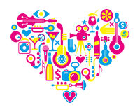 Cinema love - heart with many vector icons Stock Photo