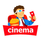 Cinema man logo Royalty Free Stock Photos
