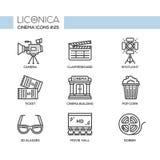 Cinema - modern vector flat line design icons set. Camera, clapperboard, spotlight, ticket, building, pop corn, 3d glasses, movie hall, bobbin. Film your Royalty Free Stock Photos