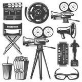 Cinema Monochrome Elements Set Royalty Free Stock Photos