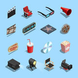 Cinema Movie Accessories Isometric Icons Collection. Cinema movie theater accessories and gadgets isometric icons set with projector 3d glasses and snacks Royalty Free Stock Photo