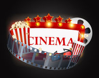 Cinema movie background. Illustration of Cinema movie background  on black background Stock Image