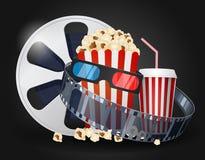 Cinema movie background. Illustration of Cinema movie background  on black Royalty Free Stock Images