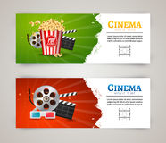 Cinema movie banner poster design template. Film clapper, 3D glasses, popcorn. Cinema banner layout Stock Images