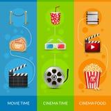 Cinema movie banner poster design template. Film clapper, 3D glasses, popcorn. Cinema banner set layout.  Royalty Free Stock Image