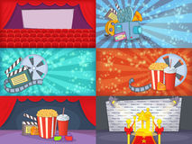 Cinema movie banner set horizontal, cartoon style. Cinema movie banner set horizontal in cartoon style for any design vector illustration Royalty Free Stock Photo