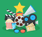 Cinema and movie cartoon illustration. Awards, tickets,  megaphone and other colorful objects flat vector icons collage.  Stock Photography