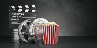 Cinema movie concept  background. Film reel and tape, popcorn an. D clapperboard on black grunge background. 3d illustratioon Royalty Free Stock Photos