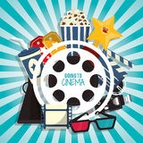 Cinema movie concept with pop corn soda glasses filmstrip. Vector illustration eps 10 Royalty Free Stock Image