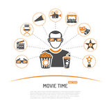 Cinema and Movie concept. With two color Icons Set like popcorn, award, clapperboard, tickets, 3D glasses and viewer. Isolated vector illustration Stock Image