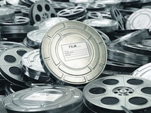 Cinema or movie concept. Video reels background. Films collection. 3d Stock Images