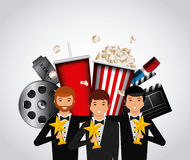 Cinema and movie design. Actors with golden trophies and cinema related icons over white background. colorful design. vector illustration Royalty Free Stock Photo
