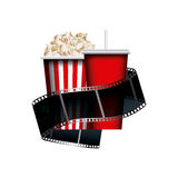 Cinema and movie design. Film tape with pop corn and soft drink  over white background. colorful design. vector illustration Stock Photos