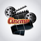 Cinema and movie design. Cinema reel film tape icon over white background. colorful design. vector illustration Royalty Free Stock Photo
