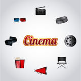 Cinema and movie design. Cinema related icons around over white background. colorful design. vector illustration Royalty Free Stock Photo