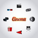 Cinema and movie design. Cinema related icons around over white background. colorful design. vector illustration Stock Photo