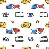 Cinema, movie doodles seamless pattern background Royalty Free Stock Photo