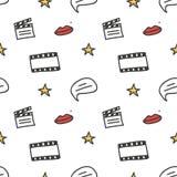 Cinema, movie doodles seamless pattern background Stock Photos