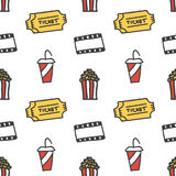 Cinema, movie doodles seamless pattern background vector illustration