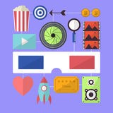 Cinema movie entertainment flat design object Royalty Free Stock Images