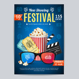 Cinema Movie Festival Poster Card Template. Vector. Cinema Movie Festival Poster Card Template Include of Popcorn, Ticket and Clapper. Vector illustration of Stock Photos