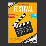 Cinema Movie Festival Poster Card Template. Vector. Cinema Movie Festival Poster Card Template with Realistic Clapper Board for Ad, Invitation, Presentation Royalty Free Stock Images