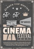 Cinema movie festival vector retro camera poster stock illustration