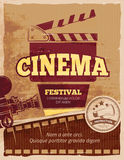 Cinema, movie festival vector vintage poster Royalty Free Stock Images