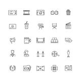 Cinema, movie, film, 3d television vector thin line icons. Concept cinematography and video production illustration Royalty Free Stock Photos