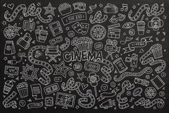 Cinema, movie, film doodles hand drawn chalkboard. Vector symbols and objects Stock Images