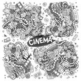 Cinema, movie, film doodles sketchy vector designs. Cinema, movie, film doodles hand drawn sketchy vector symbols and objects Royalty Free Stock Photos