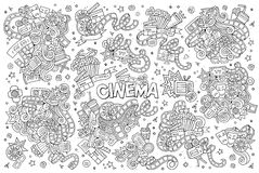 Cinema, movie, film doodles sketchy vector symbols. Cinema, movie, film doodles hand drawn sketchy vector symbols and objects Royalty Free Stock Photos