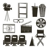 Cinema movie film equipment set icons. Vector illustration Royalty Free Stock Images