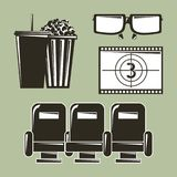 Cinema movie film equipment set icons. Vector illustration Stock Photos