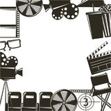 Cinema movie film equipment set icons. Vector illustration Stock Photo