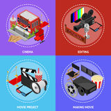 Cinema Movie Film Poster Card Set Isometric View. Vector. Cinema Movie Film Poster Card Set Isometric View Exterior Facade for Cinematography Show Business and Royalty Free Stock Image