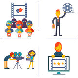 Cinema and Movie flat concept set Royalty Free Stock Photography