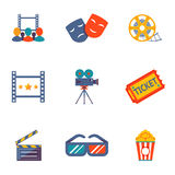 Cinema and Movie flat icon set Stock Photography