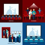 Cinema movie 4 flat icons square Royalty Free Stock Photo