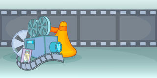 Cinema movie horizontal banner film, cartoon style. Cinema movie horizontal banner concept film. Cartoon illustration of cinema movie film vector horizontal Royalty Free Stock Photos