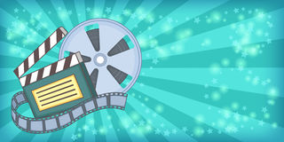 Cinema movie horizontal banner reel, cartoon style Royalty Free Stock Image