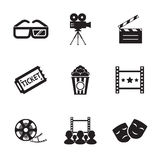 Cinema and Movie icon set modern trendy silhouette. Isolated vector illustration Royalty Free Stock Photos