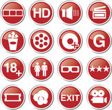 Cinema movie icon set. Red cinema movie icon set Stock Photography