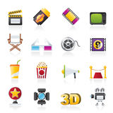 Cinema and Movie icons. Vector icon set Royalty Free Stock Images
