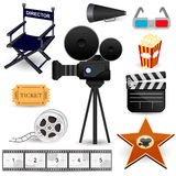 Cinema Movie Icons. An illustration of cinema and movie related items royalty free illustration