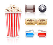 Cinema and movie icons set Stock Images