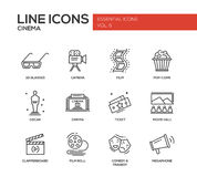 Cinema and movie icons set. Set of modern vector simple plain line design icons and pictograms of cinema and movie production. 3d glasses, film, pop corn, camera Stock Photos